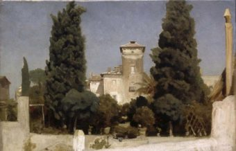 Leighton. Villa Malta, Rome. Landscape Sketch. Oil on canvas