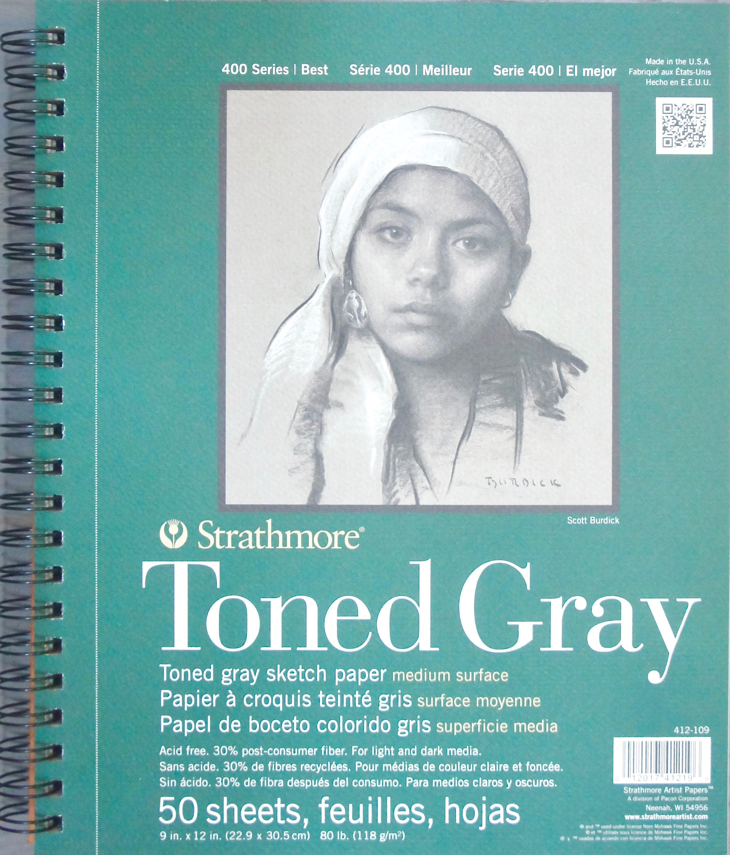 "Strathmore Series 400 Toned Gray Medium Surface Pad 9""x12"""