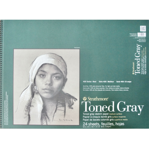 "Strathmore Series 400 Toned Gray Pad Medium Surface 18""x24"""