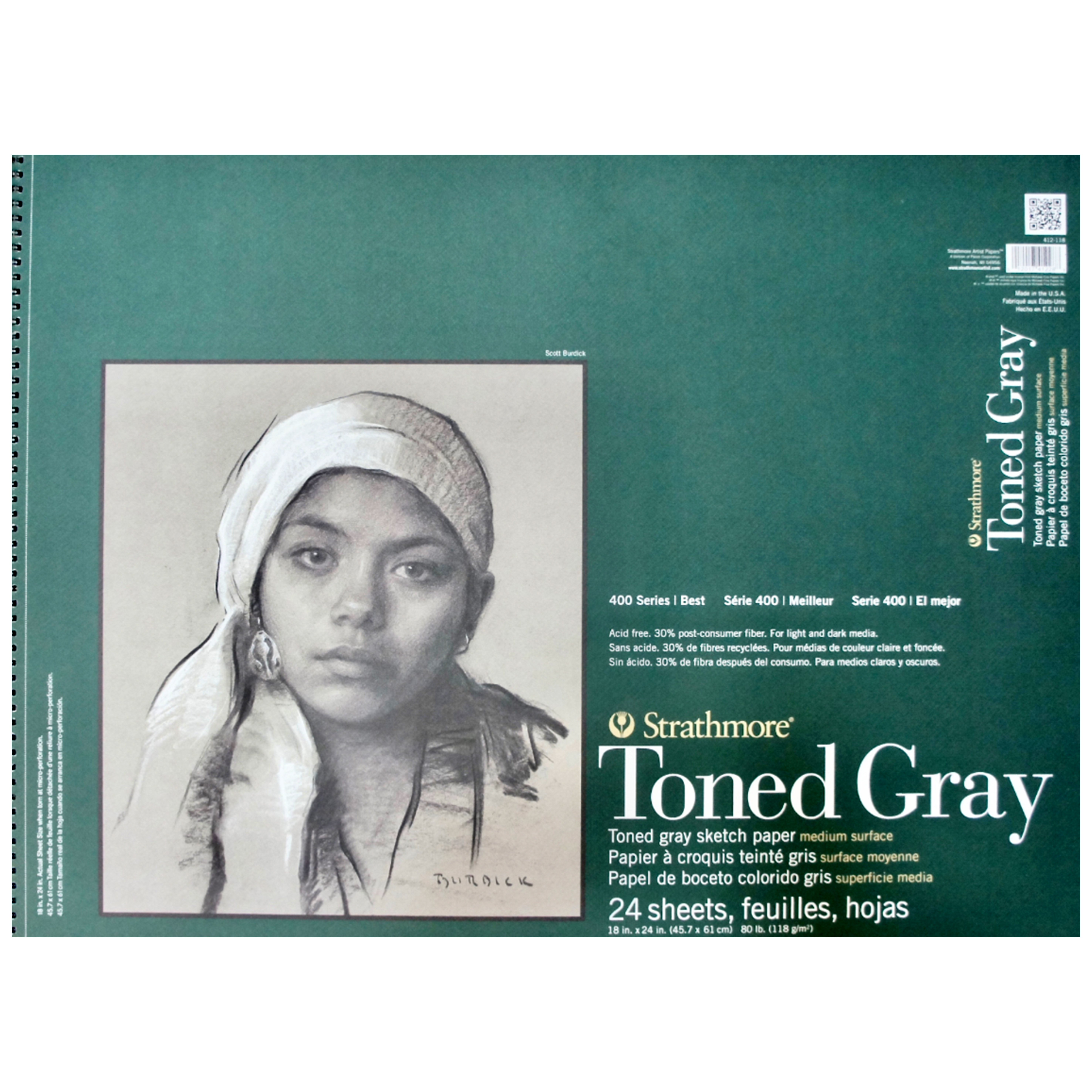 """24 Sheets 18/""""x24/"""" Wire Bound 412-118 400 Series Toned Gray Sketch Pad"""